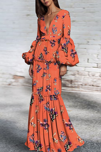 Sexy Floral Print Deep V Collar Long Puff Sleeve Maxi Dress