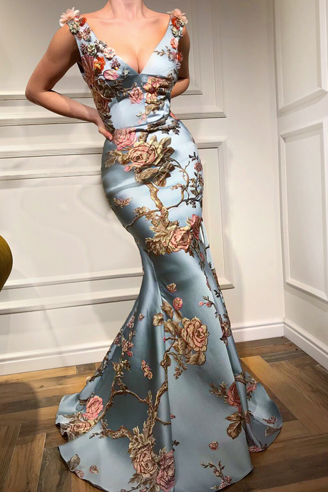 Sexy Deep V Collar Embroidery Floral Printed Fishtail Dress Maxi Dress