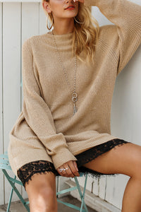 Fashion Lace Long Sleeve Knit Casual Sweater Dresses