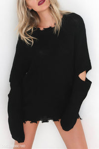 Fashion Plain Long Sleeves Knit Casual Sweater