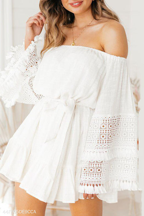 Fashion Lace Long Sleeve Off Shoulder Mini Dress