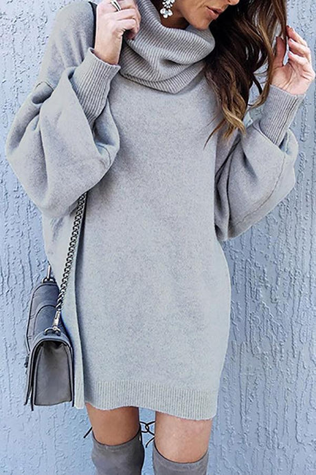 New Solid Color Loose Knit Sweater Dresses