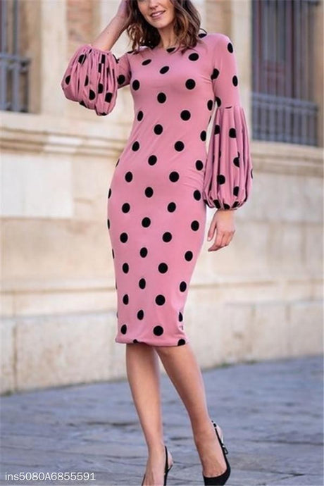 Round Collar Long-Sleeved Dot Print Trim Bodycon Dress