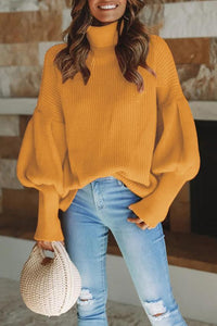 Fashion Casual Loose Plain High Collar Long Sleeve Sweater