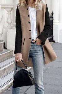 Contrast Color Stitching Long Wool Coat