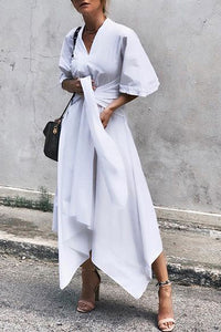 Early Autumn V-Neck Cotton/Linen Asymmetrical Skater Dress