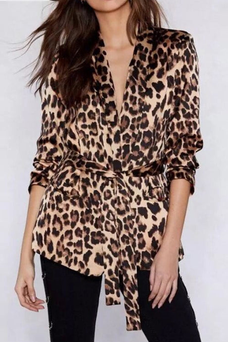 Fashion Leopard Print Long Sleeve Belt Coat Outerwear