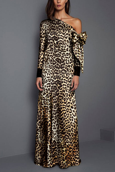 Autumn/Winter Leopard Printed Fashion Maxi Dress