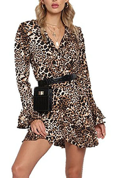 V-Neck  Asymmetric Hem Flounce Tiered  Leopard  Petal Sleeve Skater Dresses Mini Dress