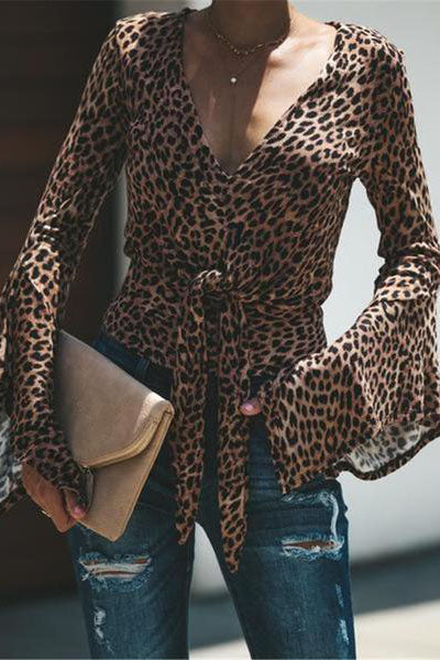 New Women's Leopard Waistband V-Neck Bottoming Shirt Blouse
