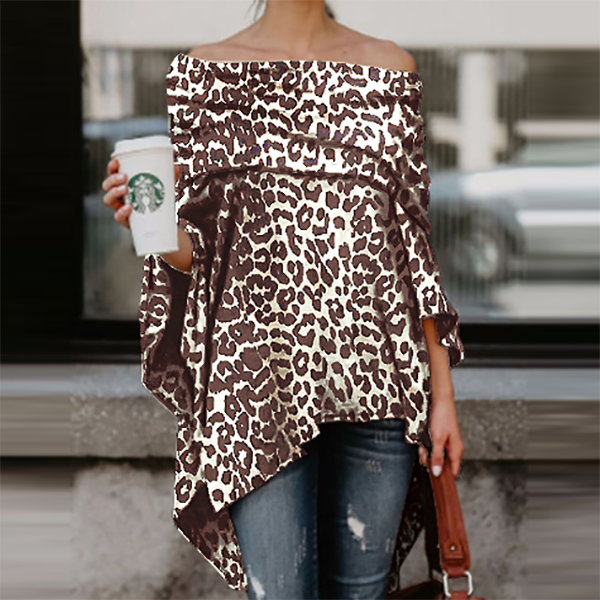 Off Shoulder  Leopard Printed Asymmetric T-Shirts