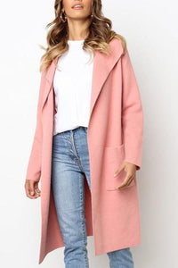 Solid Color Lapel Long Cardigan Outerwear
