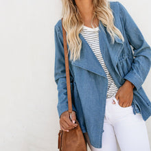 Fashion Loose Plain Lapel Denim Jackets