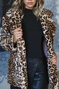Fashion Leopard Print Long Sleeve Outerwear Coat