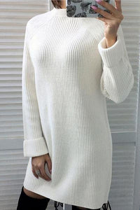Fashion Solid Color Turtleneck Sweater Sweater Dresses