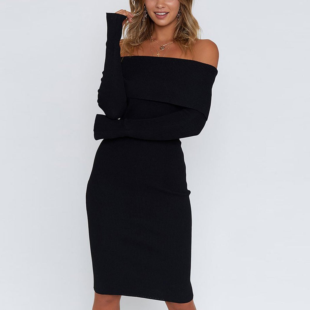 Sexy Long Sleeves Plain Off Shoulder Bodycon Dress