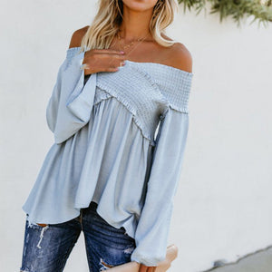 d7fc85cce62 Elastic Off Shoulder Long Flare Sleeve Plain Pleated Loose T-Shirts ...