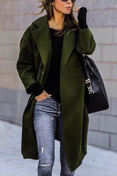 Fashion Lapel Solid Color Inspissate Woolen Outerwear