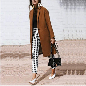 Women Woolen Coat Warm Long Overcoat