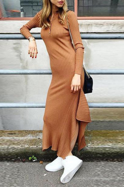 Autumn Fashion Buttoned Knit Irregular Dress