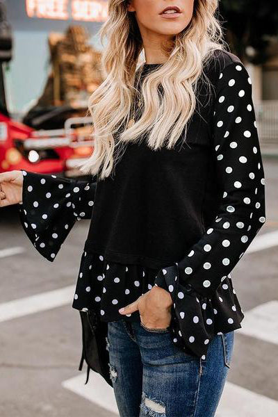Casual Polka Dot Round-Neck Trumpet-Sleeve Shirt