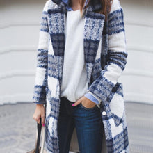 Autumn/Winter Fashion Mid-Length Plaid Woolen Cardigan