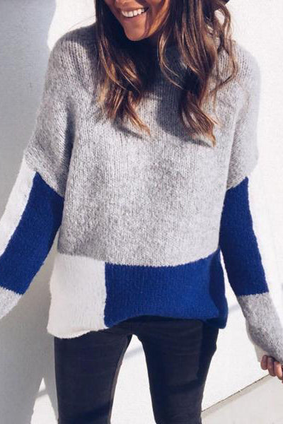 Hot Round-Neck Color-Stitching Loose Sweater