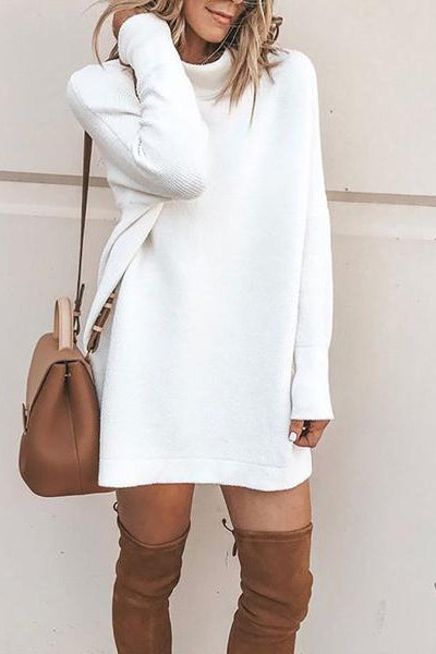 Fashion Stand Collar Long Sleeve Sweater Dresses