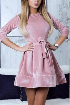 Women Sexy Suede Skater Dress With Belt