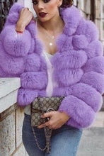 Fashion Purple Faux Fur Plain Thicken Coat