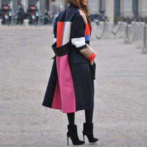 Fashion Color Matching Lapel Wool Coat