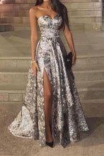 Sexy Silver Sleeveless  Sequins Split Evening Dress