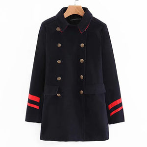 Warm Double-Breasted Wollen Pokets Jacket Coat   Outwear