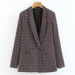 Warm Geometric Double Breasted Casual Blazer   Outwear