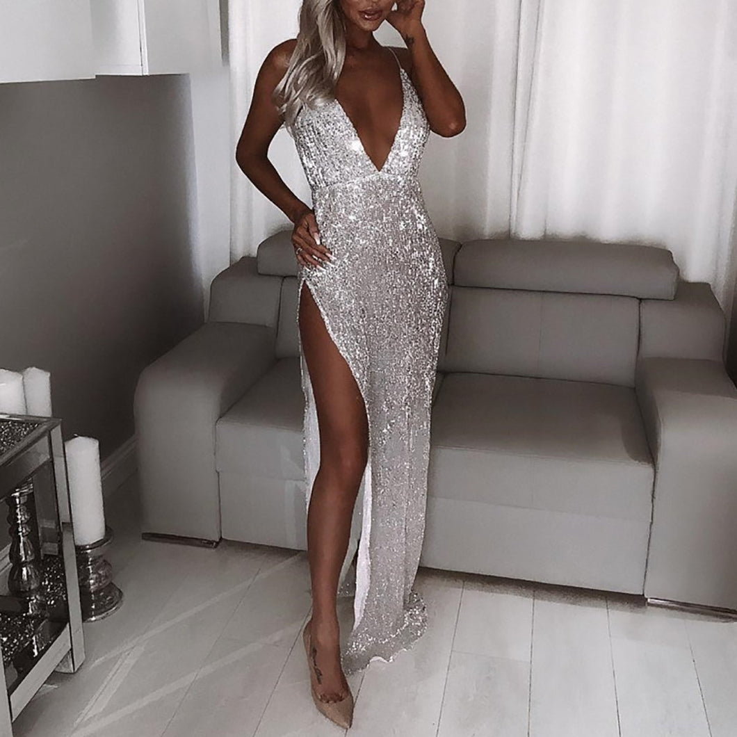 Sexy Sequin Sleeveless Maxi Evening Dress