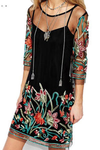 Bohemia Sexy Gauze Embroidery Slim Vacation Dress