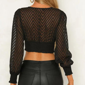Sexy Deep V Neck Long Puff Sleeve Crop Blouse   Top