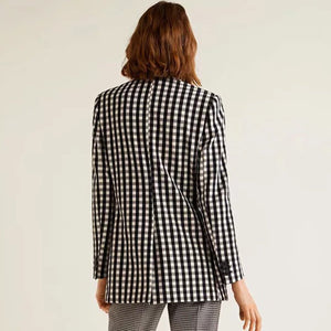 Check Plaid Casual Loose Blazer Outerwear