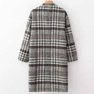 Winter Warm Plaid Casual Collarless Wollen Long Outwear