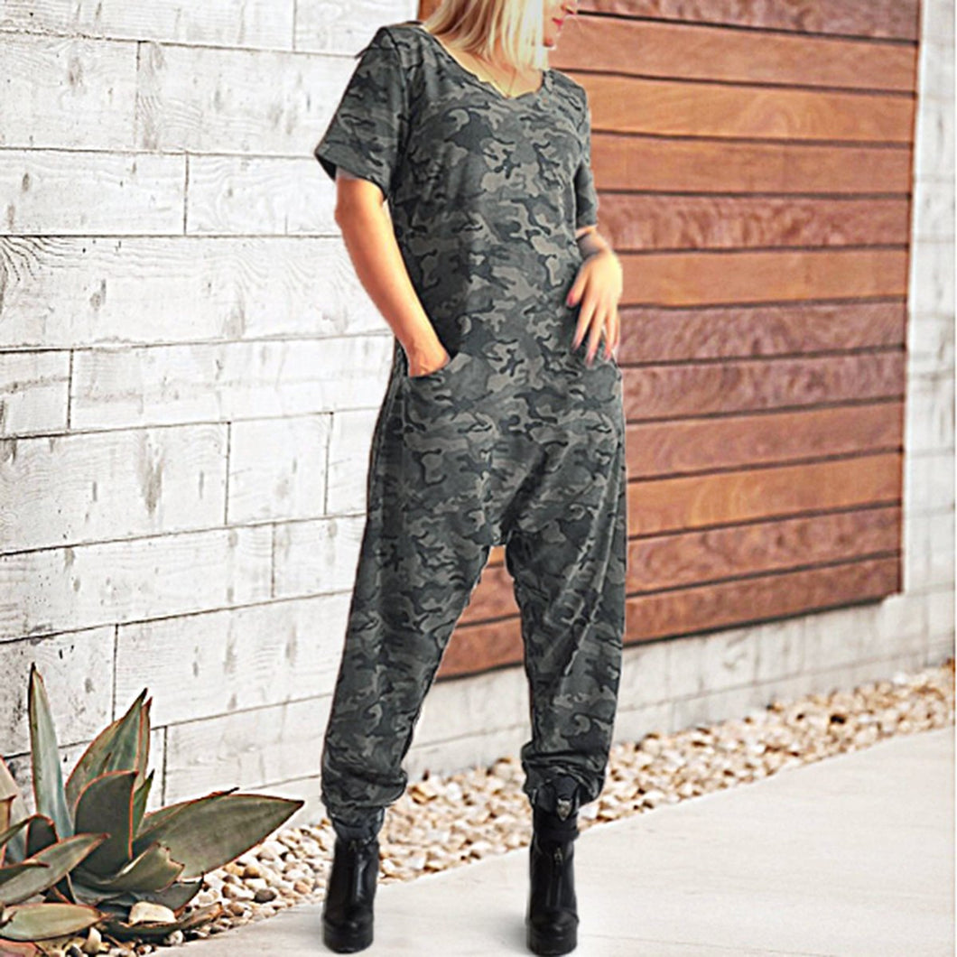 Fashion Camouflage Short Sleeves Jumpsuits