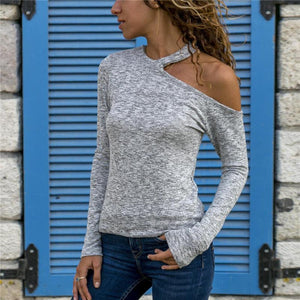 Cold Shoulder Long Sleeve Casual Blouse Tshirt
