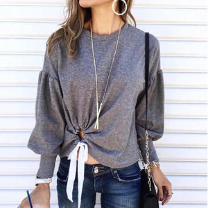 Fashion Round Neck Lantern Sleeves T-Shirt