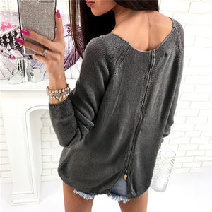 Fashion Solid Color Round Neck Sweater
