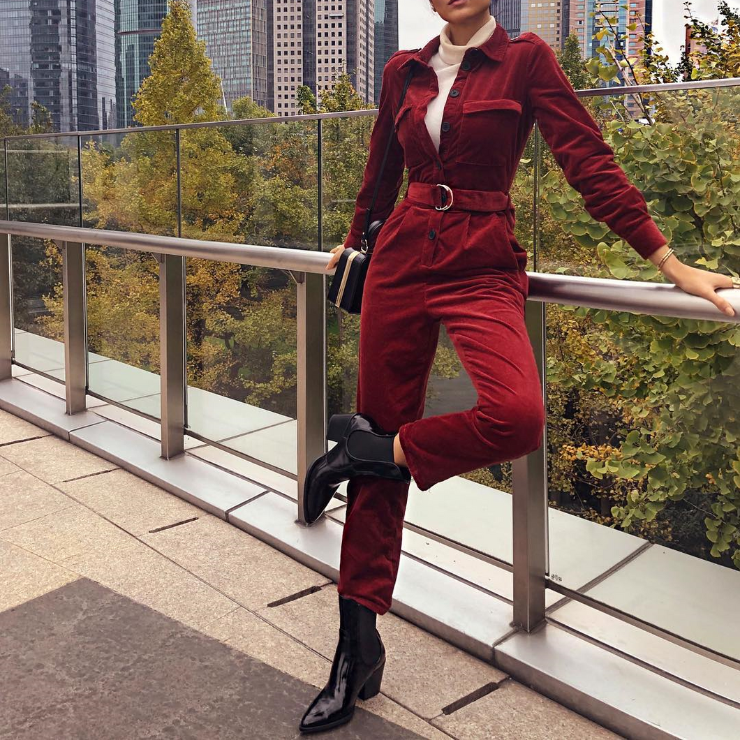 Fashion Lapel Plain Button Slim Jumpsuit With Waistband