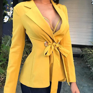 Long Sleeve Tie Front V Neck Blazer Outwear