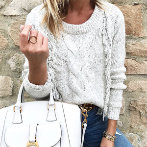 Fashion Tassel Solid Color Round Neck Sweater
