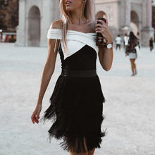 Elegant Off The Shoulder Color Block Tassel   Evening Dress