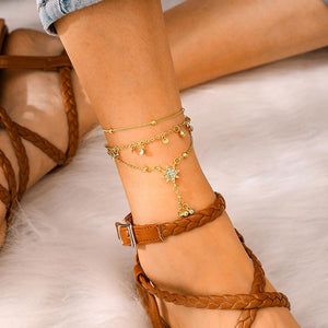 Vintage Creative Tassels Star Shape Design Triple-Layer Anklet