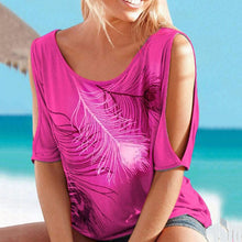 Fashion Round Neck T-Shirt With Contrast Feather Pattern