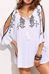 Bohemia Loose Embroidery Split Sleeve Vacation Dress